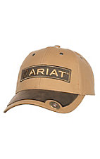 Ariat Tan Canvas with Brown Patch and Bullet Snap Back Cap