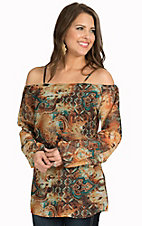 Cinco Ranch Women's Pala Orange and Turquoise Multi Print Chiffon Long Sleeve Fashion Tunic Top