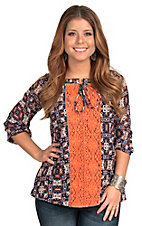 R Cinco Ranch Women's Navy & Rust with Orange Crochet 3/4 Sleeve Blouse