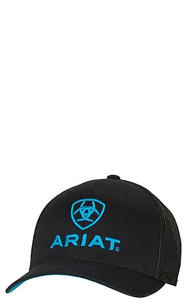 e30b6d203fa Ariat Black with Turquoise Logo Mesh Side Flex Fit Cap