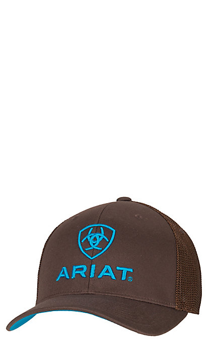 61009a33d Ariat Brown with Turquoise Logos Mesh Side Flex Fit Cap