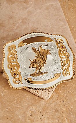 Montana Silversmiths Large Bull Rider Scalloped Trophy Buckle