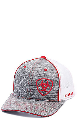 Ariat Heather Grey with Red Embroidered Logo with White Mesh Snap Back Cap