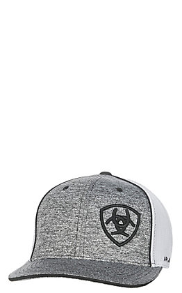 Ariat Heather Grey with Black Embroidered Logo with White Mesh Snap Back Cap
