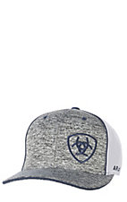 32bcb666998 Ariat Heather Grey with Navy Embroidered Logo with White Mesh Snap Back Cap
