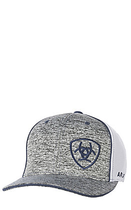 df6a314a665 Ariat Heather Grey with Navy Embroidered Logo with White Mesh Snap Back Cap