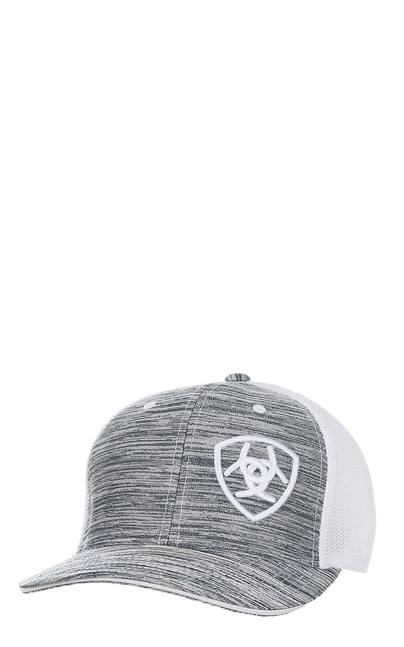 Ariat Heather Grey Embroidered Logo and White Mesh Snap Back Cap d7e7bea9e74e