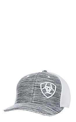 Ariat Heather Grey Embroidered Logo and White Mesh Snap Back Cap