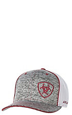 a08d54397f1 Ariat Heather Grey with Burgundy Embroidered Logo with White Mesh Snap Back  Cap