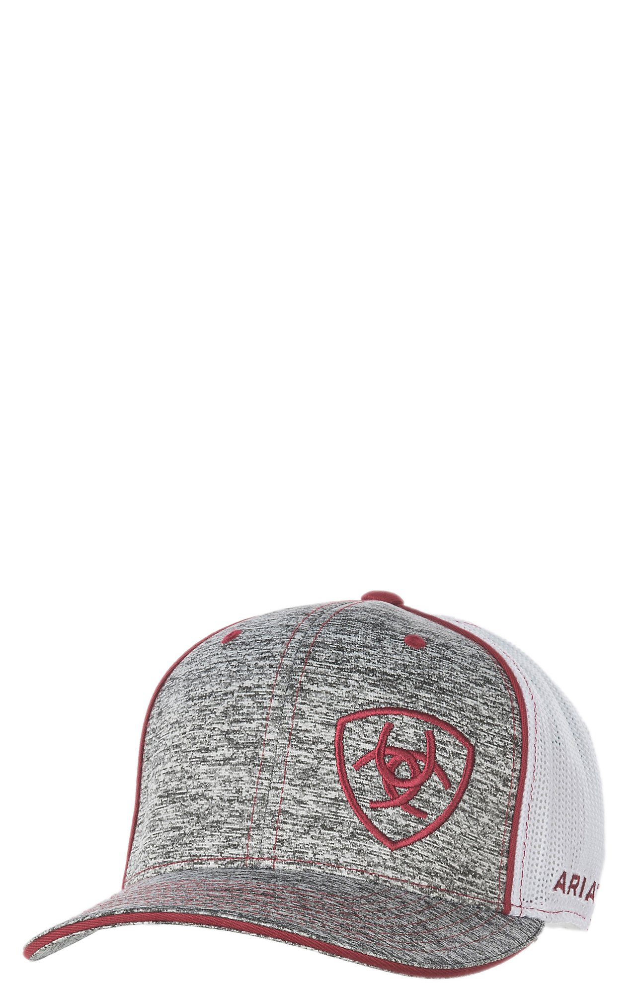 Ariat Heather Grey with Burgundy Embroidered Logo with White Mesh Snap Back  Cap  9f76cc3e40c