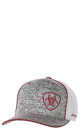 Ariat Heather Grey with Burgundy Embroidered Logo with White Mesh Snap Back Cap