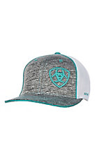 Ariat Heather Grey w/ Turquoise Embroidered Logo with White Mesh Snap Back Cap