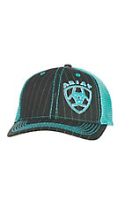Ariat Blue with Turquoise Contrast Stitching and Embriodered Logo Mesh Back Snap Back Cap