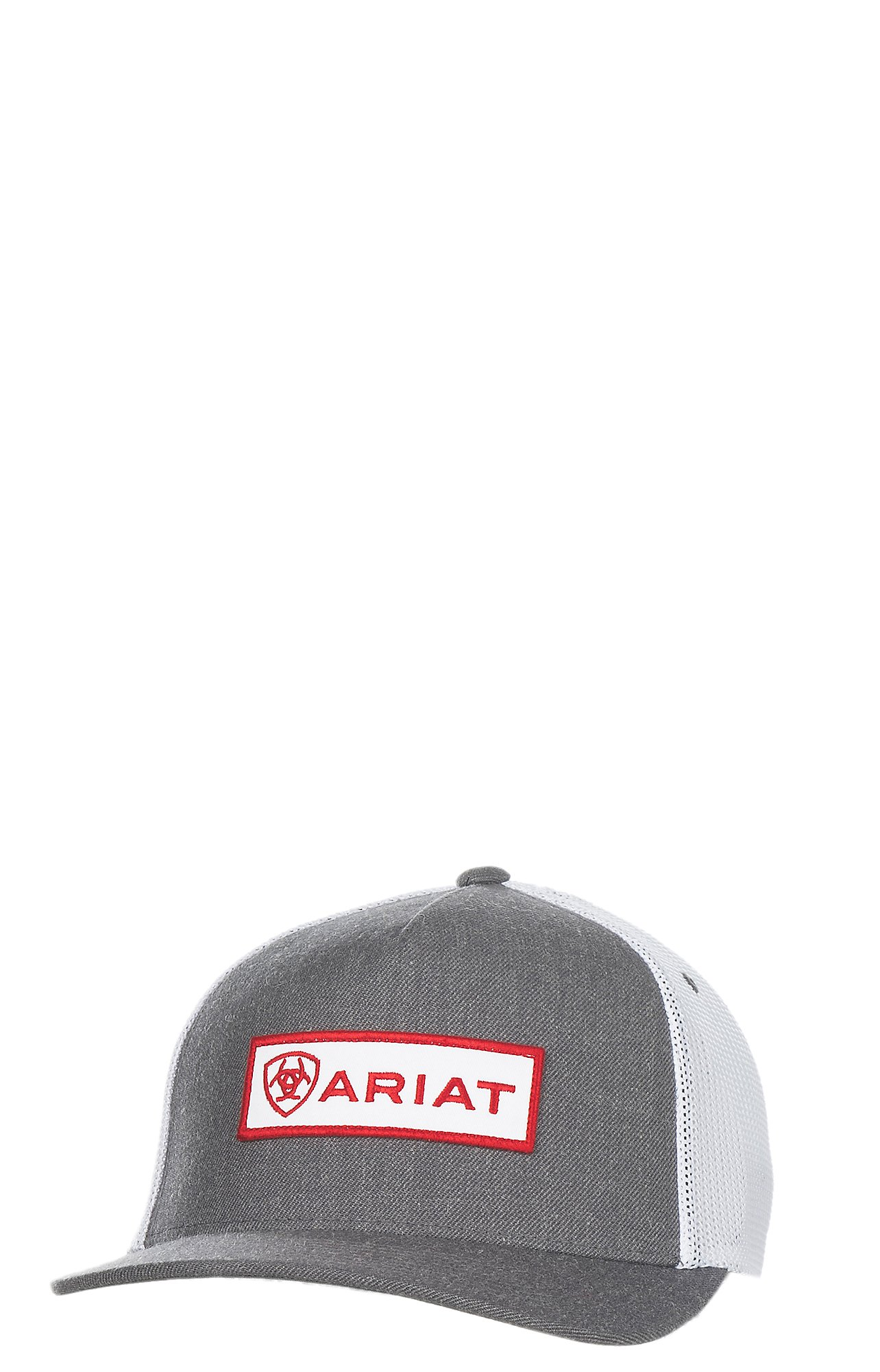 Ariat Grey with Red Patch Logo and Mesh Back Snap Back Cap 8b509c67886d