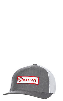 Ariat Grey with Red Patch Logo and Mesh Back Snap Back Cap