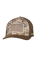 Ariat Camo and Brown with American Flag Snap Back Cap