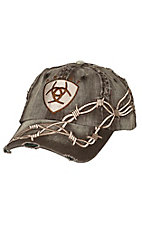 Ariat Distressed Brown with Barbwire Embroidery Logo Cap