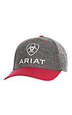 Ariat Grey & Red Logo and Velcro Back Cap