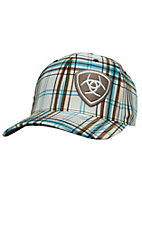 Ariat White Plaid with Offset Shield Logo Flex Fit Cap