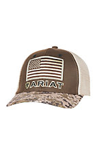 Ariat Camo, Brown and Tan with American Flag Snap Back Cap