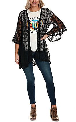 Magnolia Lane Women's Black Lace with Long Bell Sleeve Kimono