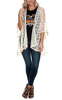 Magnolia Lane Women's Cream Lace with Long Bell Sleeve Kimono