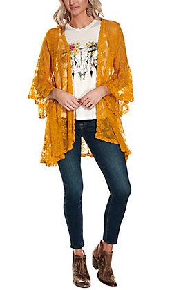 Magnolia Lane Women's Mustard Lace with Long Bell Sleeve Kimono