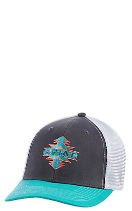Ariat Women's Grey and Turquoise with Aztec Logo Cap