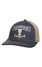 Cavender's Navy Skull Logo with Tan Mesh Back Snap Back Cap