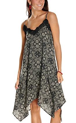 Jody Women's Black Bandana Print with Lace Sleeveless Dress