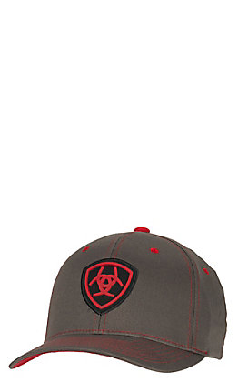 best sneakers f22ef 43bc0 Ariat Grey with Red Logos Flex Fit Cap