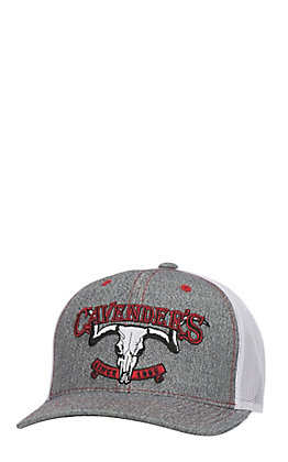 Cavender's Grey Skull Logo with Red Shadow White Mesh Back Snap Back Cap