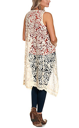 Magnolia Lane Women's Natural Floral Lace Sleeveless Duster Vest