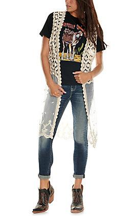 Jody Women's Off White Crochet and Lace Vest