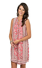 Renee C. Women's Coral, Taupe, and Ivory Paisley Print Sleeveless Tent Dress