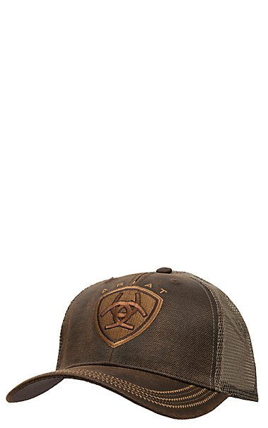4411ae45f35 Ariat Brown Oilskin with Mesh Back Logo Velcro Back Cap