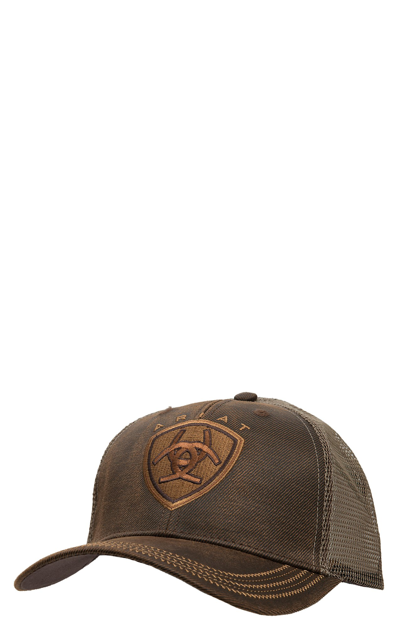 Ariat Brown Oilskin with Mesh Back Logo Velcro Back Cap d631a7398a50