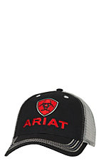 Ariat Black with Red Logo Mesh Back Cap