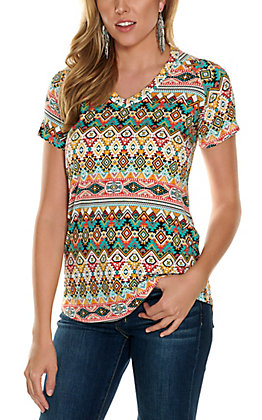 Jody Women's Turquoise, Yellow and Coral Aztec Print V-Neck Short Sleeve Tee