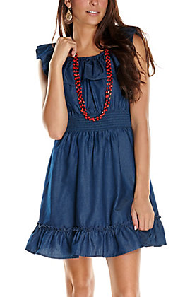 Jody Women's Dark Denim Ruffle Sleeveless Dress