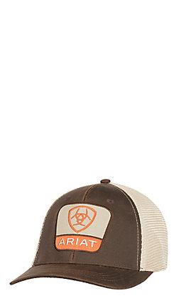 Ariat Brown with Large Patch Logo and Gold Mesh Back Snap Back Cap