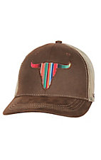 Ariat Brown Serape Skull Snap Back Cap