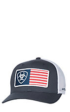 Ariat Navy and White American Flag Snap Back Cap