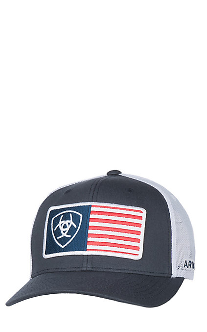 8d287429f Ariat Navy and White American Flag Snap Back Cap