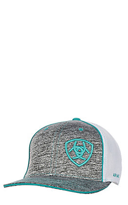 Ariat Youth Heather Grey and Turquoise Logo Cap