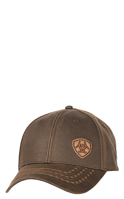 9177e2f52 Ariat Brown Oilskin with Offset Logo and Velcro Back Cap