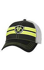 Ariat Black with Neon Yellow Accents and Mesh Back Snap Back Cap
