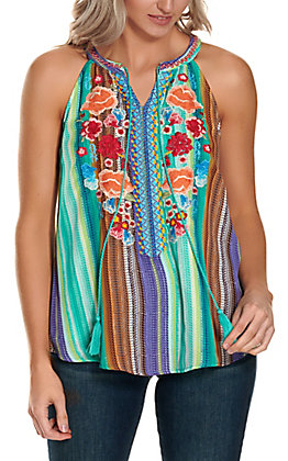 Savanna Jane Women's Teal, Purple and Orange Stripes with Floral Embroidery Sleeveless Fashion Tank Top