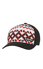 Ariat White, Red, and Black Aztec Design with Black Mesh Back Snap Back Cap