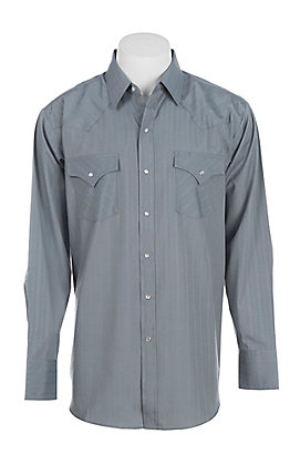 Ely Cattleman L/S Tone on Tone Solid Grey Shirt